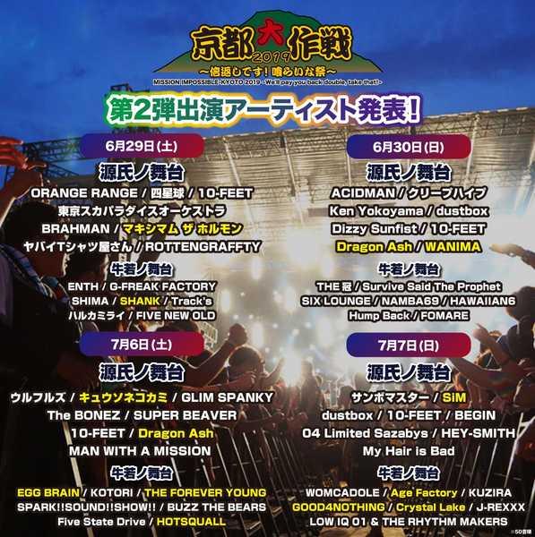 10-FEET主催『京都大作戦』の第2弾アーティストとしてホルモン、Dragon Ashら発表