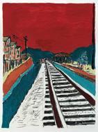 ボブ・ディランの水彩画代表作『Train Tracks (RED SKY)』