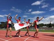 世界マスターズ陸上競技選手権の4×100mリレー(M40クラス)にて、金メダルを獲得した日本代表チーム
