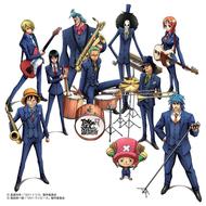 「ワンピース」のキャラクターたちがスカパラの楽器を手にしたイラスト 上段左からサンジ、フランキー、ブルック、ナミ 中段左からロビン、ゾロ、ウソップ 下段左からルフィ、チョッパー、トリコ