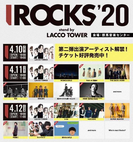 LACCO TOWER主催『I ROCKS 2020』第二弾出演アーティストを発表