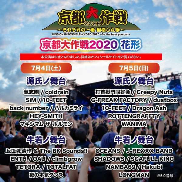 10-FEET主催『京都大作戦』、開催中止を発表